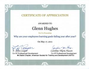 ASTD Mt Diablo Certificate of Appreciation