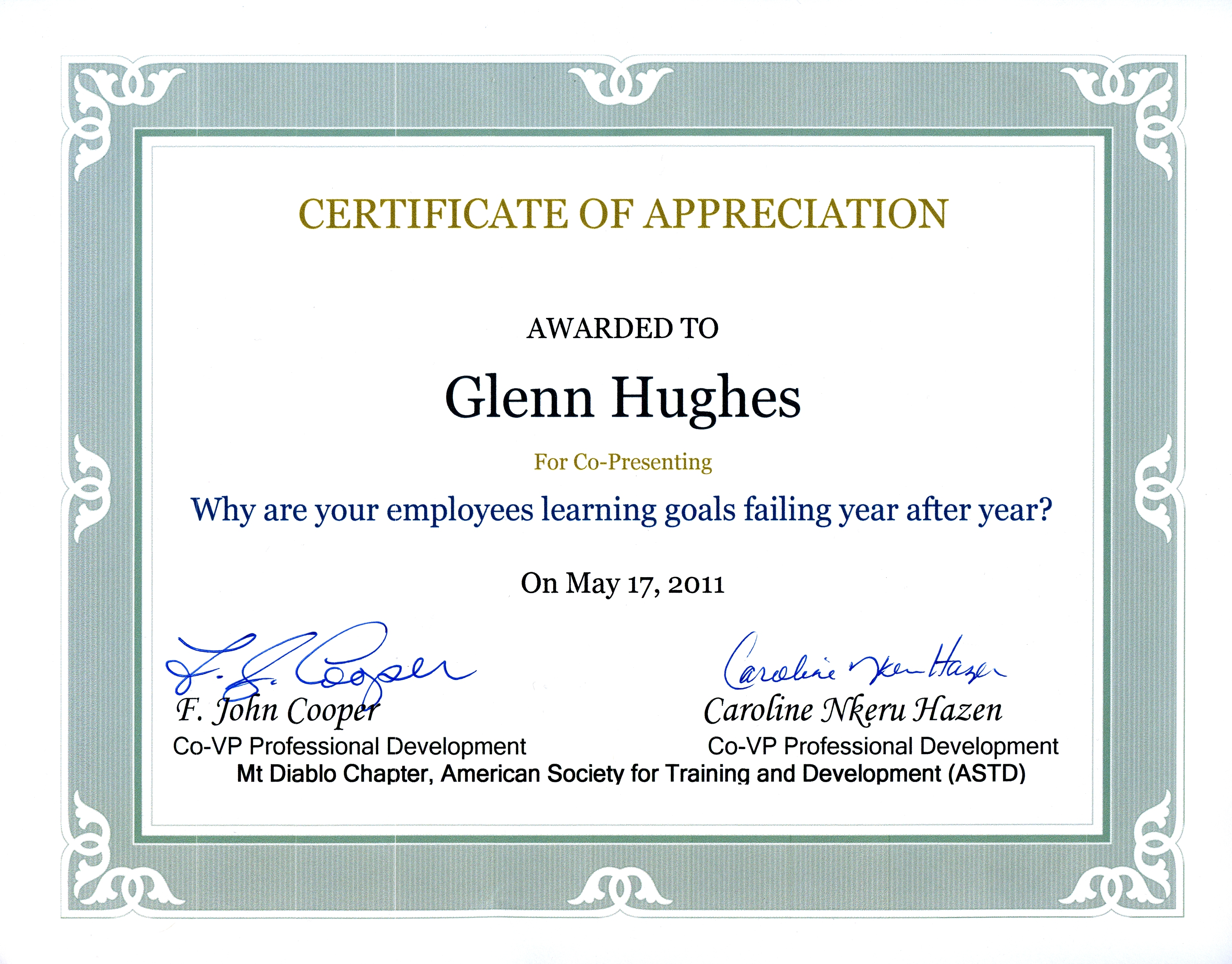 Certification Of Appreciation Wording