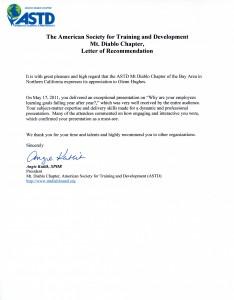 ASTD Mt Diablo Letter of Recommendation